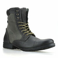 Mens Leather Combat Lace Up Ankle Cowboy Military Army Biker Boots Shoes Size