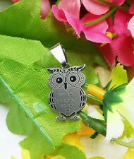 Women's Girl Fashion Stainless Steel Silver Owl Pendant w/ Necklace