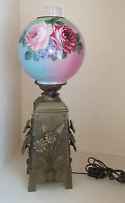 Rare Hinks & Sons Brass Arts & Crafts Daisy Oil Lamp, Hand Painted Rose Globe