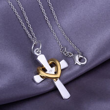 wholesale sterling solid silver chains gold heart cross pendant necklace XLSP094