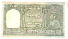 My world collection India KGVl 1946 10 rupees paper banknote -Very high grade !