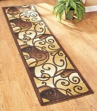 "Decorative 23"" x 90"" Tan Scroll Runner Rug Hallway Living Room Home Decor"