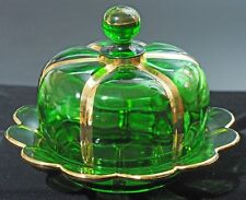 EAPG - Riverside Glass Works - X-RAY - Butter with Lid - Emerald Green