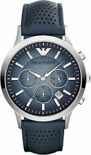 Armani Blue Leather Quartz Analog Men's Watch AR2473