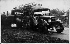 CARTE POSTALE PHOTO ACCIDENT AUTOCAR CITROEN LIGNE PARIS EVREUX CONCHES