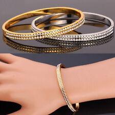 Damen Gold Zirkonien  Armband Armspange 18 Karat 750er Gold Vergoldet  Armreif
