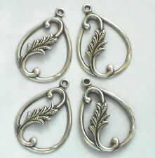 Vintage Leaf Findings, Connectors Silver Victorian Art Nouveau Pear Drops #1414