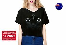Women Girl Short Sleeves Black Cat Loose Party Costume Short Tops Tee T-shirt