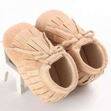 @Baby Tassel Sole Leather Shoes Infant Boy Girl Toddler Moccasin 0-18 Months 13