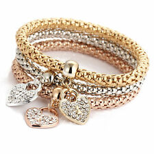 3Pcs Women Girls Gold/Silver/Rose Gold Chic Crystal Love Heart Bracelets Bangles