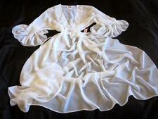 Long Chiffon Robe Sheer White Frilly One Sz Dressing Gown Negligee Lingerie NEW