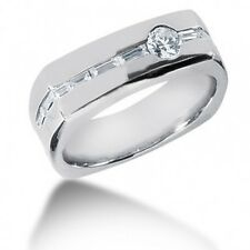 1.20CT Men's Wedding Band Ring with Round and Baguette Cut Diamonds
