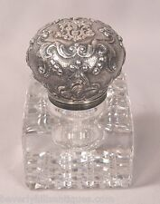 Antique French Silver Topped Cut Crystal Inkwell Marked Susse Fres Paris