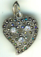 925 Sterling Silver & Marcasite & Clear Stone Off set Heart Pendant  1.1/4""