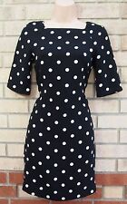 PRIMARK BLACK WHITE SPOTTY POLKA DOT TUBE SMOCK FORMAL PARTY TEA DRESS 8 S