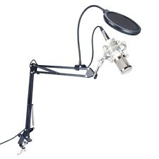Condenser Microphone W Pop Filter+Adjustable Suspension Scissor Arm Stand-WHITE