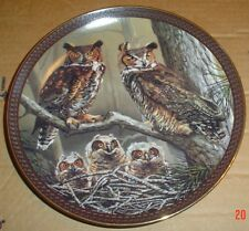 The Bradford Exchange Collectors Plate GREAT HORNED OWL FAMILY