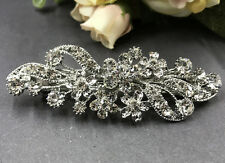 New silver Tone Flower Rhinestone clear Color Hair Clip Barrette ha2722225