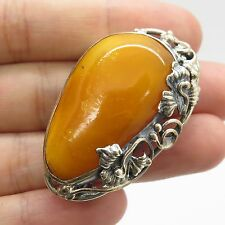 Vtg 925 Sterling Silver Large Real White Amber Gemstone Handmade Pendant Brooch