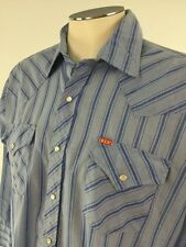 Ely Plains VTG Pearl Snap Shirt 16.5 32 33 stripes Western Cowboy Mens Korea