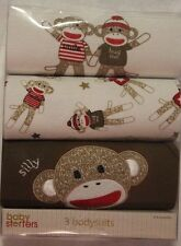 New Baby Starters Boy's Sock Monkey 3 Bodysuits Gift Set Size 0-6 Months