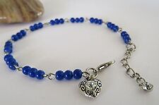 blue glass bead silver crystal heart charm rosary anklet ankle bracelet chain