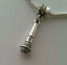 Microphone Music Speech Lead Singer Band Dangle Bead for European Charm Bracelet
