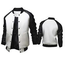 Men's Casual Bomber baseball Jacket PU Leather Patch Sleeve Slim outwear Coats