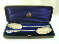 Pair of berry spoons George III dated 1778 boxed presented boxing club comp 118g