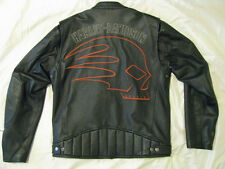 Harley Davidson Leather Motorcycle Jacket H-D Skull Cafe Racer Skuller Men L