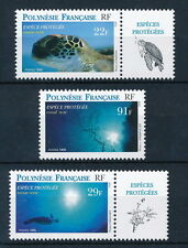 French Polynesia 1995 MNH 3v, Turtles, Marine Life, Labels