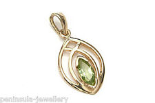 9ct Gold Peridot Celtic Pendant no chain Made in UK Gift Boxed