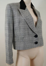ELSA MAHR Made In France Black & White Check Blazer Jacket FR38; UK10