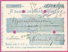 Old Judaica 1921 -Jewish Credit Co-Op Kosice - 1300 KCs Cheque -more on ebay.pl