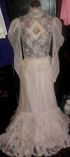 Wedding Gown Country Victorian Ivory Lace Dress Shabby Chic Vintage