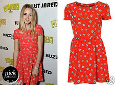Topshop Red Floral Daisy Meadow Flower Print Vtg Skater Tea Dress 14 42 US10 M