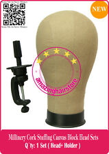 NEW Cosmetology Millinery/Hat Cork Canvas Block Head 4 Lace Wigs Toupee Making-B