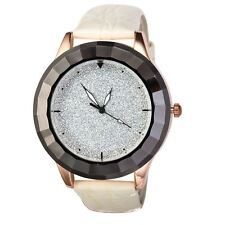 Alias Kim Lady Crystal Silver Dial White Leather Band Women Bracelet Wrist Watch