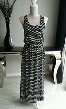 POLKA DOT MAXI DRESS SIZE M/L BLACK AND WHITE LOVELY IMMACULATE CONDITION