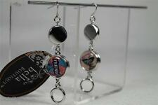 Elegant Double Loop & Solid Earrings With 2 Sets of Magnet Charms-Butterfly NWT!