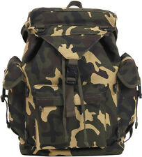 Woodland Camouflage Military Canvas Outdoorsman Rucksack Backpack
