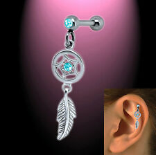 Helix Ohr Piercing Traumfänger  aqua Zirkonia Dream catcher
