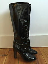 ZARA LADIES BLACK PATENT LEATHER KNEE HIGH BOOTS UK5