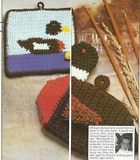 Crochet Pattern ~ Duck Oven Mitt & Duck Hot Pad Potholder ~ Instructions