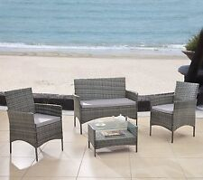 4PC Grey Rattan Wicker Outdoor Furniture Complete Set- Table, Loveseat, Chair