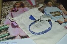 Fossil Brand Thread Cobalt Blue Silver Tone Chain Fashion Bracelet NWT GIFT IDEA