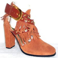 "New June Ambrose ""Beaman"" Cognac Fringe Shootie with Studs 5.5 M"