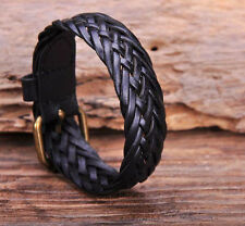 G122 Black Cool Classic Braided Leather Bracelet Wristband Cuff Mens