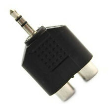 M/F Connector 3.5mm Stereo Male Jack Out Plug To 2 2RCA Female Splitter Adapter