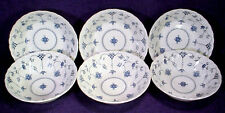 6 Salem China YORKTOWN Cereal Soup BOWLS Blue Swirl ENGLAND Myott FINLANDIA Lot